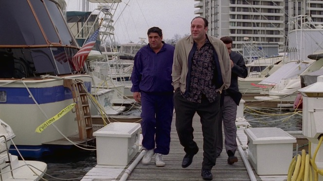Tony and Silvio walk Pussy to his doom at the Channel Club docks in Monmouth Beach.