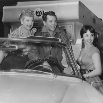 Lucy, Desi, and Liz. Elizabeth Taylor dropped by the MGM lot for a photo op with the two stars of The Long, Long Trailer (1954). Arnaz had reportedly bet MGM that The Long, Long Trailer would make more than its then-highest grossing comedy, Father of the Bride, starring Taylor. Arnaz won the $25,000 bet.