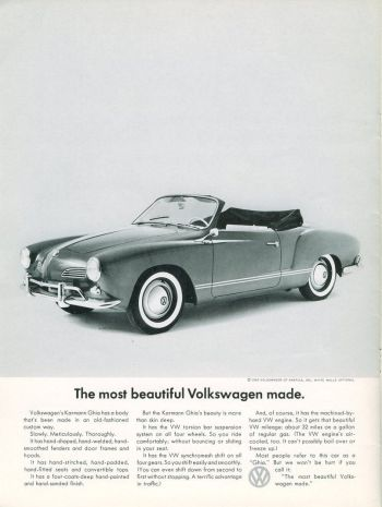 """The Karmann Ghia was correctly touted as """"the most beautiful Volkswagen ever made"""" in this 1962 advertisement, consistent with DDB's barebones, straightforward advertising for VW during this era including the iconic """"Lemon"""" ad for the Type 1 Beetle."""