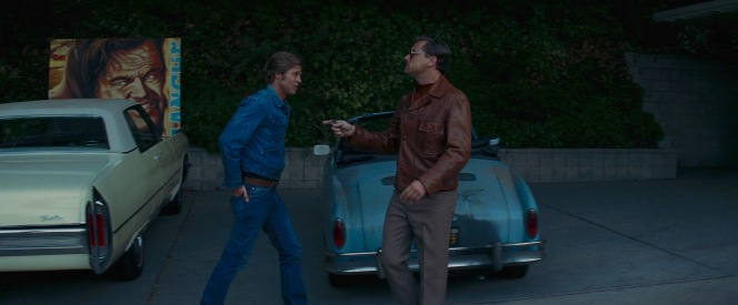 A laconic Cliff allows himself a chortle or two as he struts behind Rick, who's currently talking himself off a ledge as he recognizes his potential as a Hollywood homeowner living next to Roman Polanski and Sharon Tate.