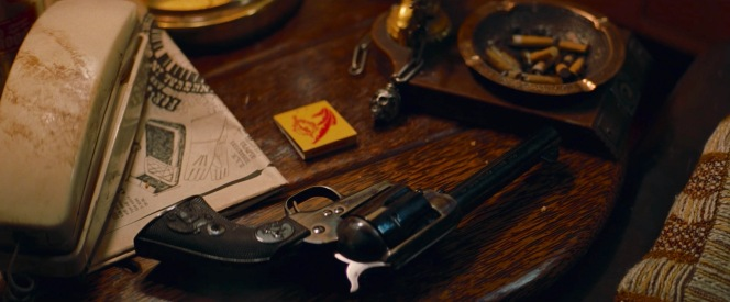 While we don't see it later, Cliff's Peacemaker establishes him as the kind of guy who just leaves a revolver unattended on his end table while he's out for most of the day.