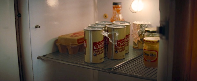 What does Cliff Booth keep in his fridge? Eggs, barbecue sauce, beer, and Cheez Whiz.