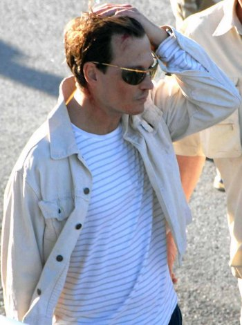 Johnny Depp on the set of The Rum Diary.