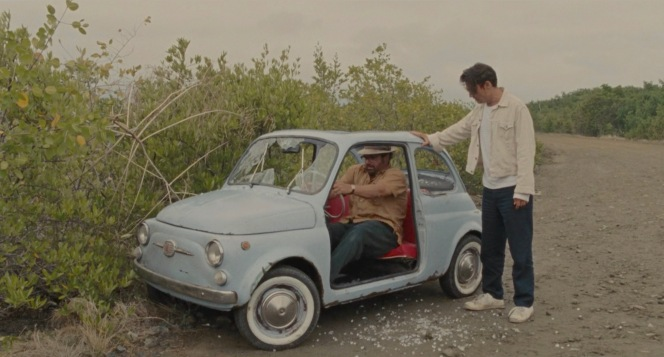 Kemp and Sala inspect the destroyed—but drivable—Fiat.