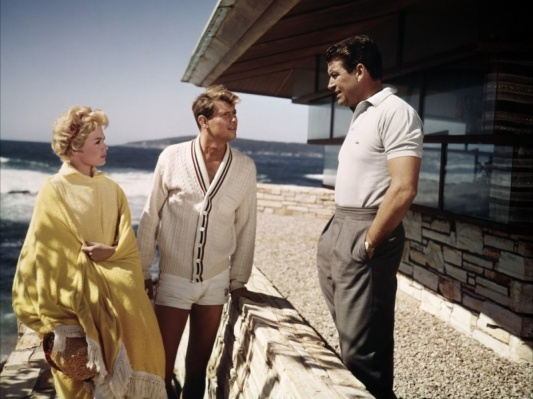 Sandra Dee, Troy Donahue, and a Lacoste-clad Richard Egan at the Frank Lloyd Wright-designed Clinton Walker House during production of A Summer Place.