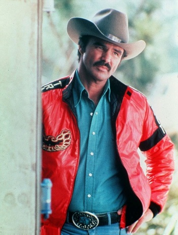 Burt Reynolds, clad in the Bandit's personalized jacket for Smokey and the Bandit II (1980)