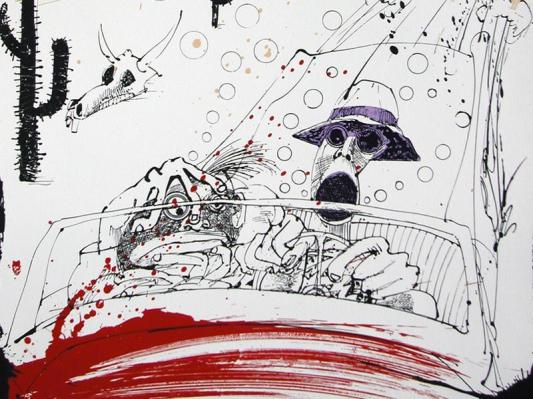 Ralph Steadman's illustration of Dr. Gonzo and Raoul Duke at the helm of the Great Red Shark.