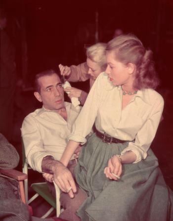 Humphrey Bogart and Lauren Bacall on set of Key Largo (1948)