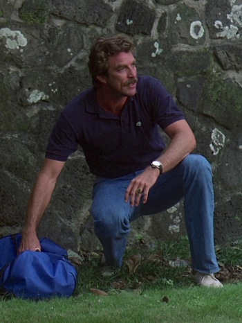 "Tom Selleck as Thomas Magnum on Magnum P.I. (Episode 1.05: ""Never Say Goodbye"")"