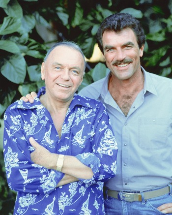 "Frank Sinatra and Tom Selleck during production of ""Laura"" (Episode 7.18 of Magnum, P.I.)"