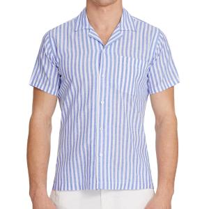The Thunderball Stripe Shirt in Riviera/White from Orlebar Brown