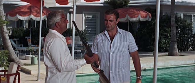 James Bond (Sean Connery) wore this striped summer shirt with camp collar for a warm afternoon of shotguns and rum at the estate of villain Emilio Largo (Adolfo Celi) in Thunderball (1965).