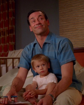 "Jon Hamm as Don Draper on Mad Men (Episode 4.13: ""Tomorrowland"")"
