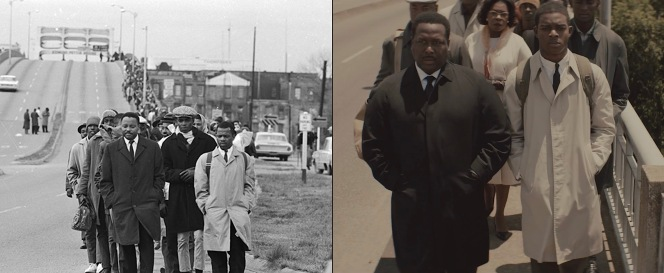 Spider Martin for the Birmingham News photographed Hosea Williams and John Lewis leading their vanguard across the Edmund Pettus Bridge on March 7, 1965, for the Birmingham News, an event faithfully recreated in Selma.