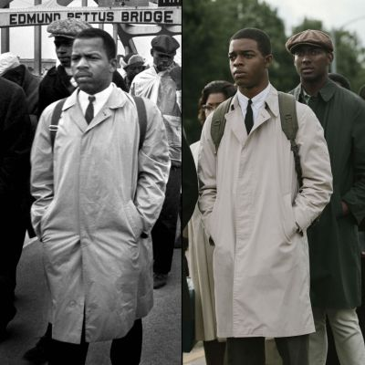 The real John Lewis in 1965 and Stephan James portraying Lewis in Selma (2014)