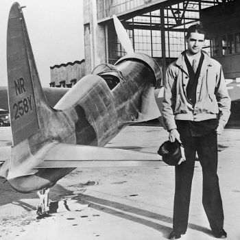 The real Howard Hughes, standing with the H-1 Racer in September 1935.