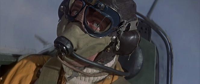 Skipper flies in Type B helmet and Mk VII goggles.
