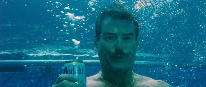 I hope Julian realizes that Modelo isn't going to taste quite the same after dropping into the pool with it...