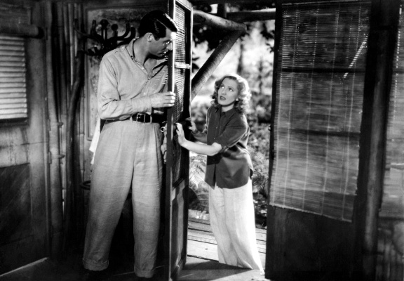 Production photo of Cary Grant and Jean Arthur in Only Angels Have Wings.