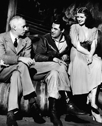 Howard Hawks, Cary Grant, and Rita Hayworth during production of Only Angels Have Wings.