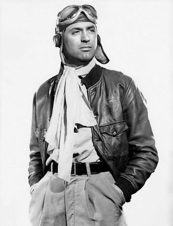 Production portrait of Cary Grant in flier's garb for Only Angels Have Wings.